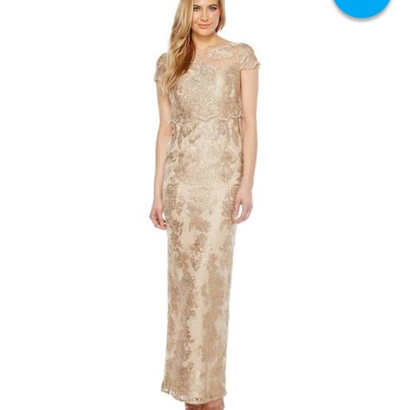 16da015fbd78 Adrianna Papell Dresses & Skirts - Adrianna Papell Gold Lace dress
